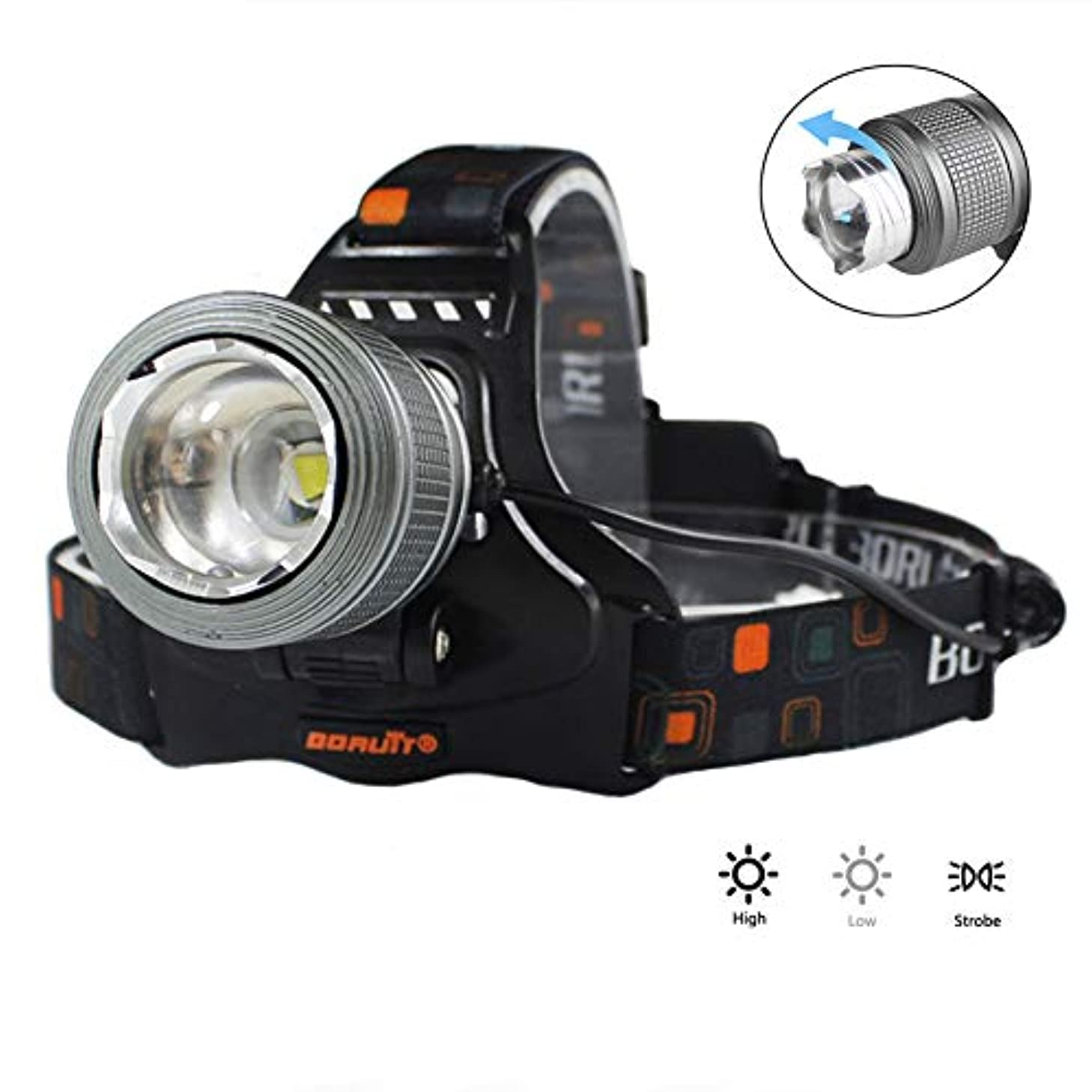予想する余裕がある最後にLEDヘッドトーチヘッドランプ、ズーム可能な防水USB充電式、90度の角度調整可能360°回転フォーカシング3つのモードキャンプ用、ランニング用、ハイキング用、キッズ用、ウォーカー用ヘッドライト