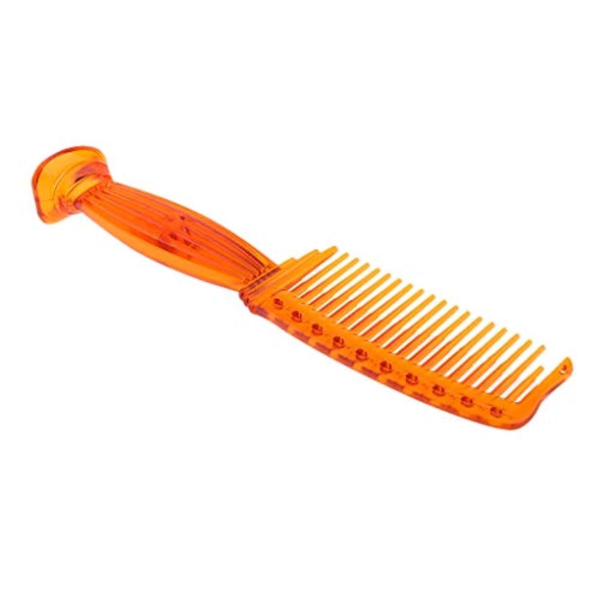 貫入ベース砲兵ヘアコーム ヘアブラシ ワイド歯 プラスチック プロ ヘアサロン 理髪師 全5色選べ - オレンジ