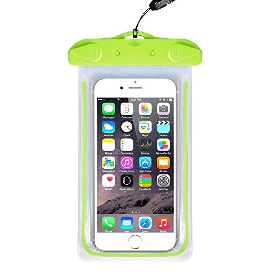 活気づける良いドラマ防水ケース スマホ防水ポーチ IPX8 iPhoneとAndroid 6インチ以下全機種対応 ネックストラップ付属(グリーン)