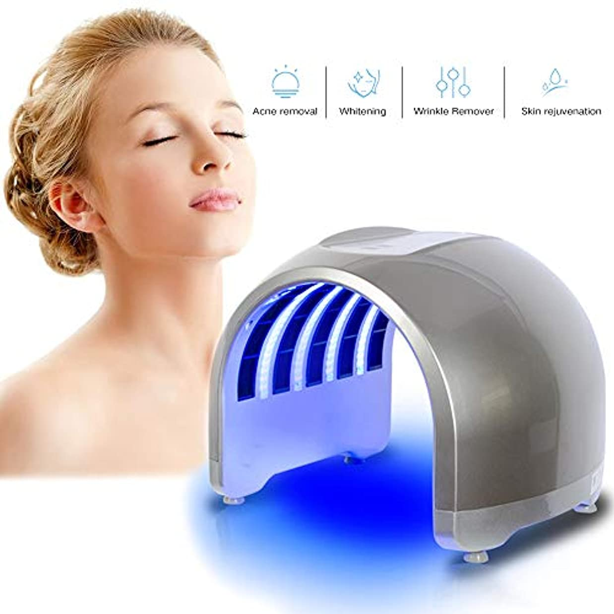 暴露実行可能研究LEDの光子のマスクPDTライト療法の美機械顔のマッサージャーの表面スキンケア装置,銀,Americanplug