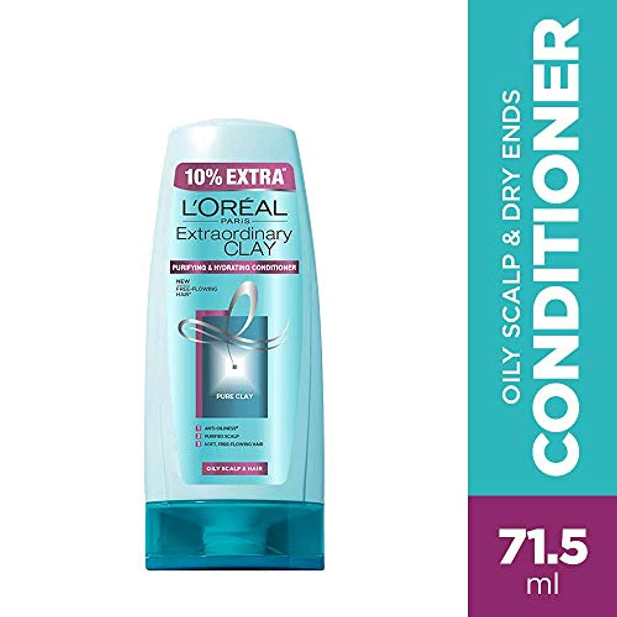 L'Oreal Paris Extraordinary Clay Conditioner, 65ml (With 10% Extra) (Loreal Ship From India)
