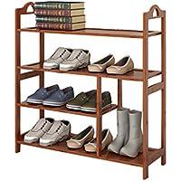 ブーツ靴ラック竹フラットシェルフ複数の層の木製の収納キャビネット家具オーガナイザー66 * 25 * 73cm