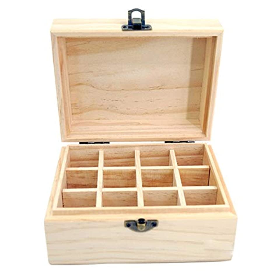 放つ失礼な微弱12スロットエッセンシャルオイル木箱の収納ケースは、あなたの油安全保護さを保つ保護します アロマセラピー製品 (色 : Natural, サイズ : 15X11.5X8CM)