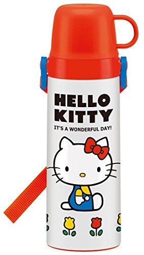 【スケーター】キャラクター 軽量 2WAY ステンレスボトル 600ml + ミニタオル セット 水筒 直飲み コップ付き 保冷保温 (キティ )