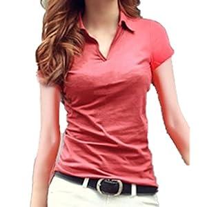 [Chaiclo] Vネック 襟付き カットソー ポロシャツ 無地 シンプル スリム 細身 半袖 (M, レッド)