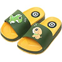 Shower Slippers for Kids,Non-Slip Summer Beach Water Shoes Boys Girls Shower Pool Cute Cartoon Slippers,Green,30/31