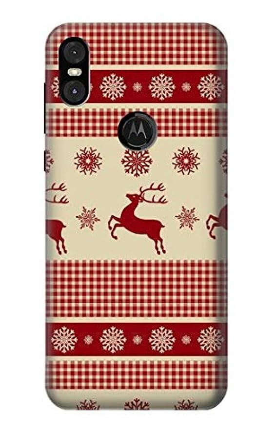公演オーナメントコンデンサーJP2310MMO クリスマス 雪 トナカイ Christmas Snow Reindeers Motorola One (Moto P30 Play) ケース