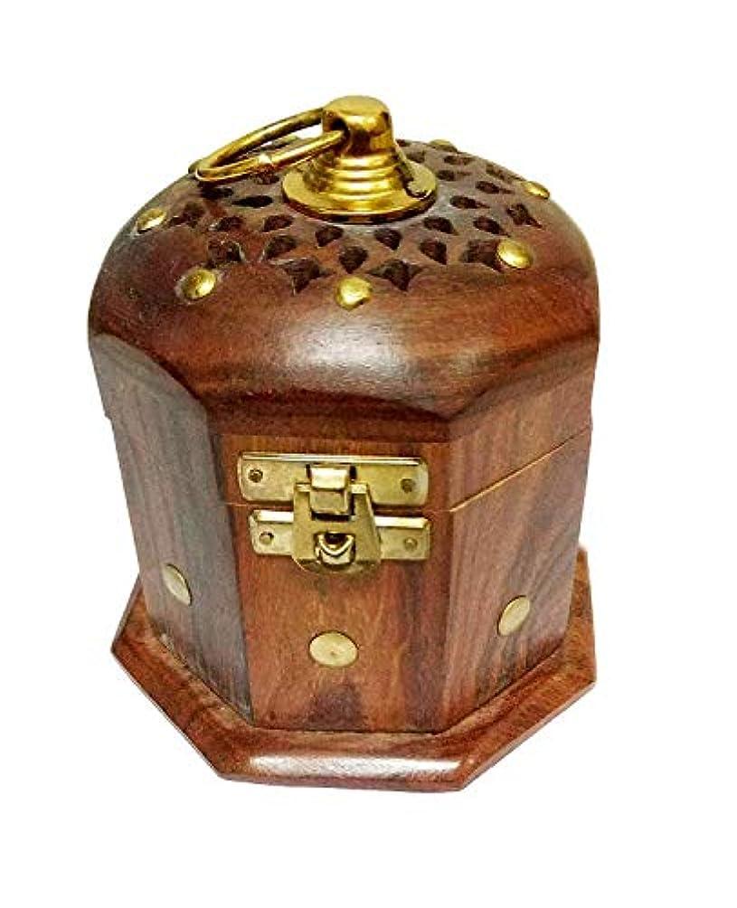 突然の人に関する限り立方体Samudratanaya Exports 木製クラシックムガルドープホルダー お香ホルダー