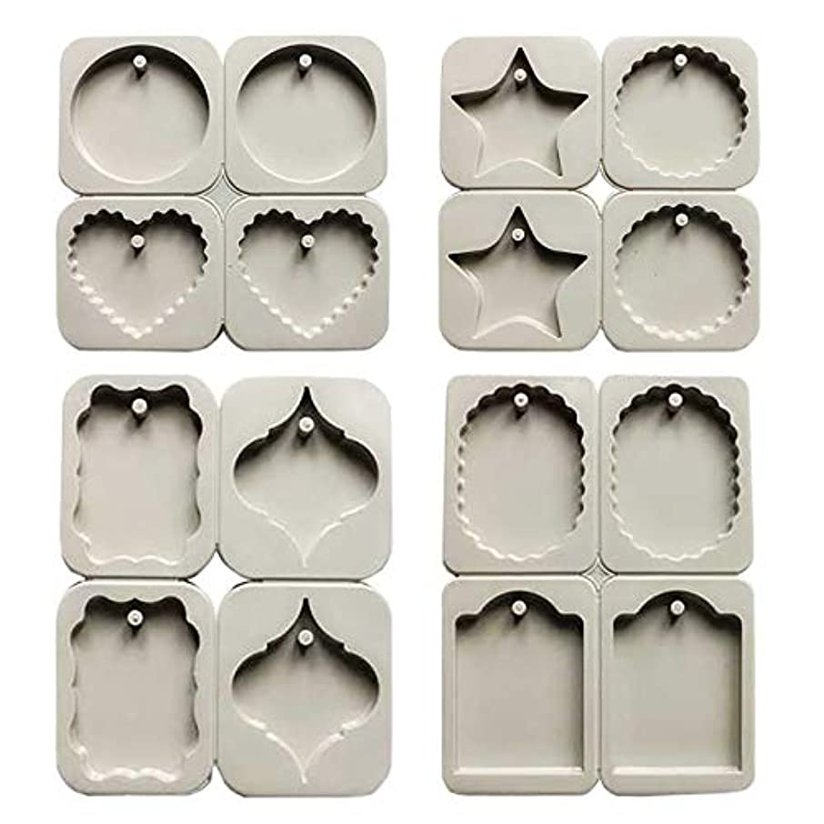 フェリモア シリコンモールド 穴あきタイプ 手作り石鹸 アロマストーン 粘土 レジン 抜き型 8種