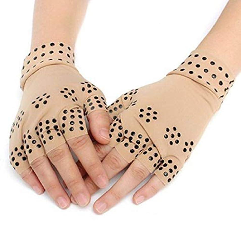 Angzhili 磁気手袋 関節炎療法手袋 着圧手袋 指なし手袋 磁気療法 関節炎 関節ストレス 手首サポーター 関節炎解消 リウマチ性手痛 1ペア