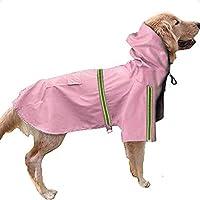 SOOKi犬レインコートレジャー防水軽量犬のコートジャケット反射レインジャケットフード付き小中大型犬,Pink,S
