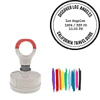 Discover Los Angeles Customizable Stamp Round Badge Style Pre-Inked Stamp, Red Ink Included