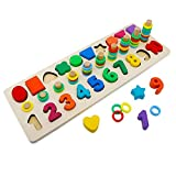 Early Education Shape Sorter Counting Numbers 0-10 Ring Stacker Math Stacking Toys -Wooden Math Blocks Sorting Puzzle Board Preschool Learning Toys for Kids