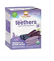Gentle Teethers 24-Pack Blueberry & Purple Carrot Organic Teething Wafers by HAPPYBABY [並行輸入品]