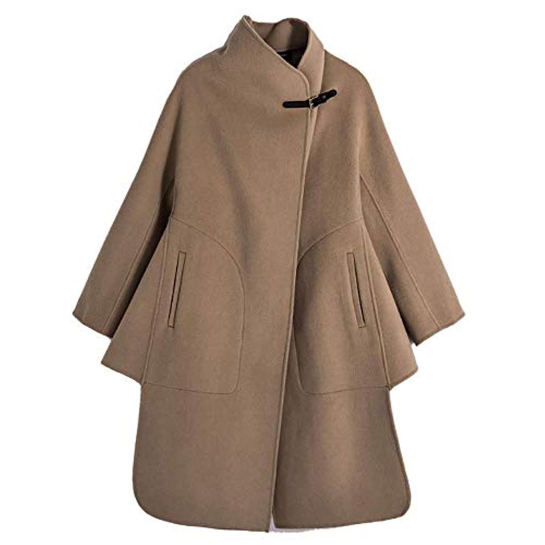 ベット記事湿度両面のウールコート、ウールレザーバックル両面ウールコート女性のウールコートレディースジャケットレディース?コートレディースウインドブレーカージャケット,ブラウン,XS