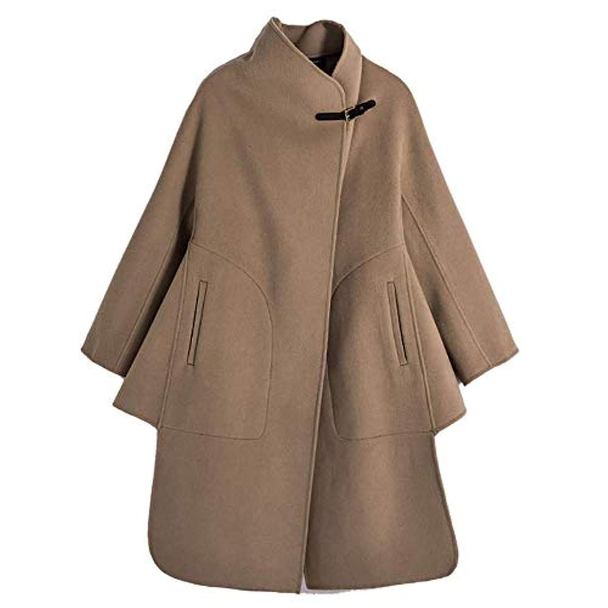 インクジャベスウィルソンみぞれ両面のウールコート、ウールレザーバックル両面ウールコート女性のウールコートレディースジャケットレディース?コートレディースウインドブレーカージャケット,ブラウン,XS