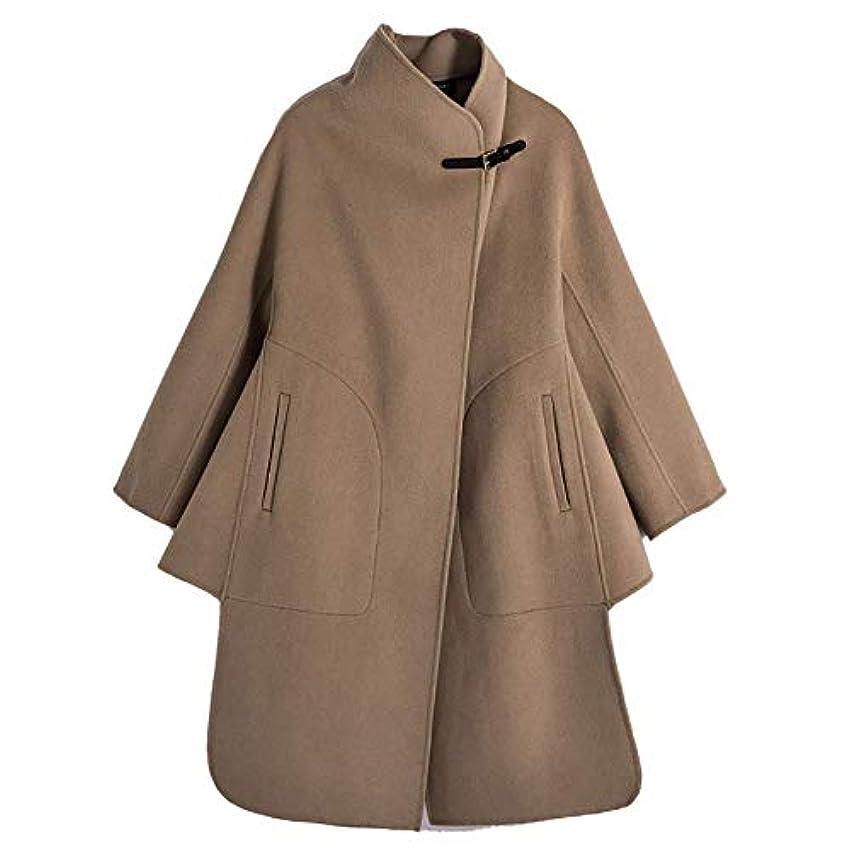 出席魅力的であることへのアピールかろうじて両面のウールコート、ウールレザーバックル両面ウールコート女性のウールコートレディースジャケットレディース?コートレディースウインドブレーカージャケット,ブラウン,XS
