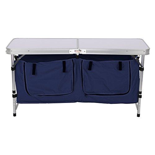 WELQUICアウトドア 折りたたみ テーブル キッチンテーブル ストレージアウトドアテーブル 大容量収納 テントサイトがすっきり 3段階高さ調整可能 軽量 持ち運び便利 耐荷重30kg