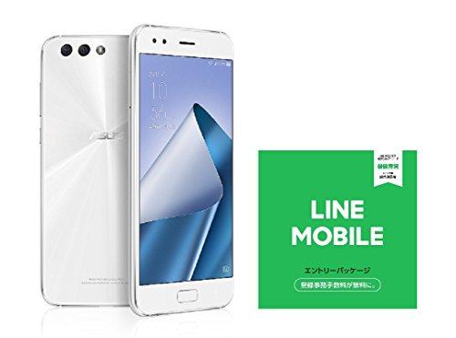 ASUS ZenFone4 SIMフリー スマートフォン (ホワイト/5.5インチ)日本正規代理店品(オクタコアCPU/6GB/64GB/3300mAh) ZE554KL-WH64S6/A ZE554KL-WH64S6/A  LINEモバイル エントリーパッケージセット