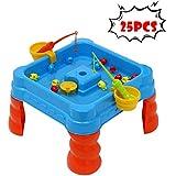釣りゲームおもちゃセット ビーチ お風呂 おもちゃ 水に浮かぶ魚遊びセット 砂水 魚15個+ゲームテーブル+釣り竿2個+魚箱2個、15.7 x 15.7 x 9インチ 25個