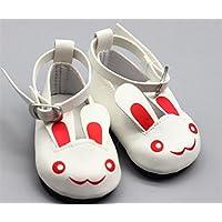 HuaQingPiJu-JP 人形アクセサリーかわいいウサギの靴(白)