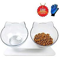 ペット食器台 猫 食器 猫ボウル スタンド フードボウル ペット皿 子犬猫用 高度調節 食べやすい 滑り止め 頭を下げらず ペット用品 (贈り物:マッサージ手袋)