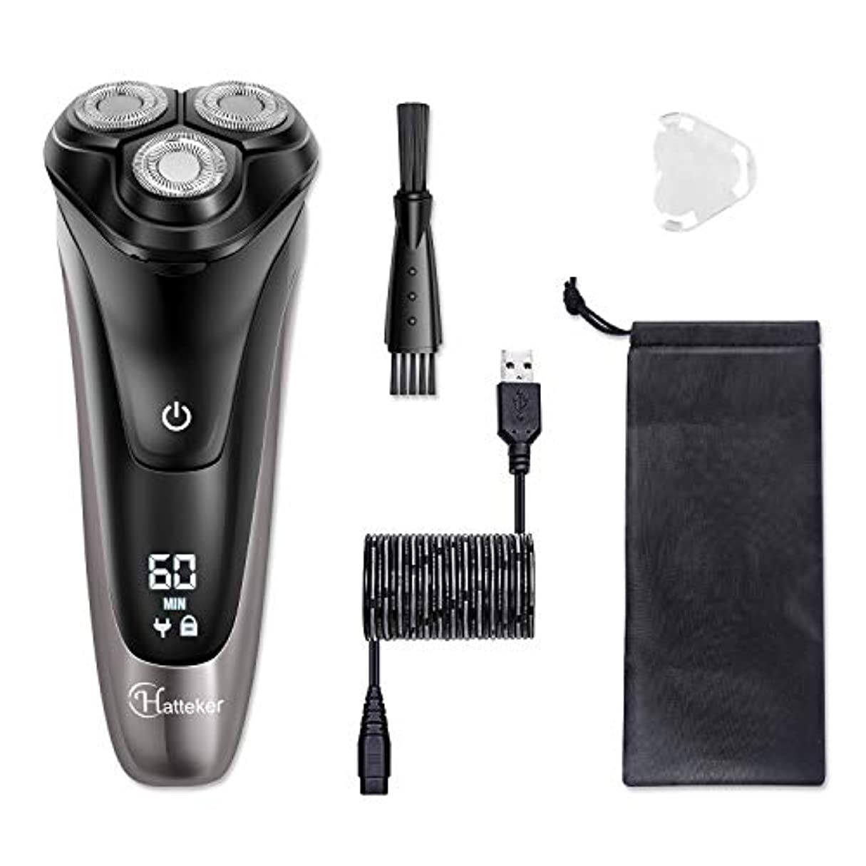 永続香り装備するHATTEKER シェーバー メンズ 髭剃り 回転式 一半時間急速充電 LEDディスプレイ 家庭用 トリマー付き