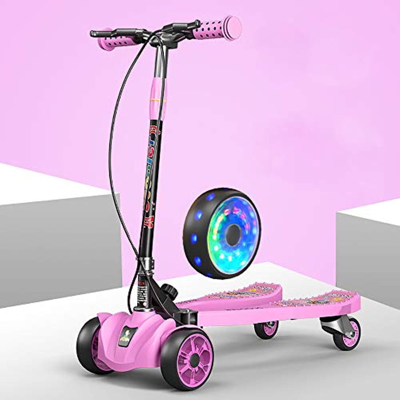 子供スクーター3-6-12歳の男の子の女の子のおもちゃの車のハンドブレーキの高さ調節可能な折りたたみ式2フィートペダルPUフラッシュLEDホイールブ