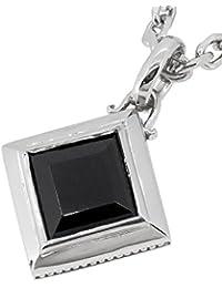 [クローストゥーミー] Close to me ガーディアン ストーン オニキス 正方形 ミルグレイン シルバー 925 メンズ ネックレス ブランド 菱型