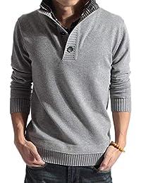 [ Smaids x Smile (スマイズ スマイル) ] ニット セーター 長袖 プルオーバー 重ね着風 襟 チェック 柄 無地 メンズ