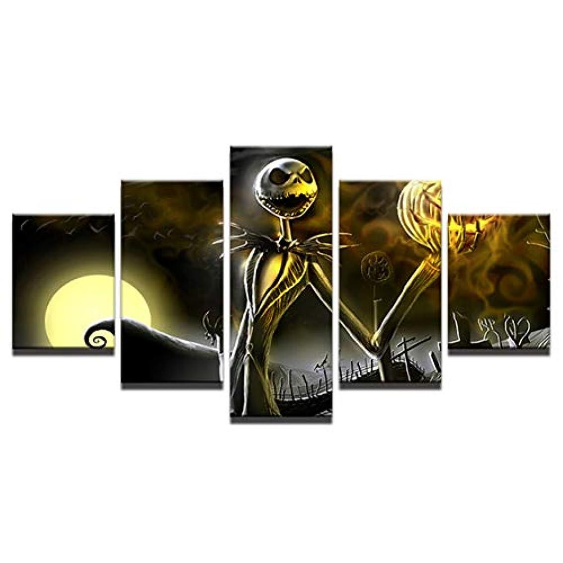 ゆでる練る倫理的Saikogoods レトロジャック?スケリントン絵画モジュラーキャンバスウォールアート写真5つのHallowmasホームデコレーション 多色 20×35cm×2個20×45cm×2個20×5