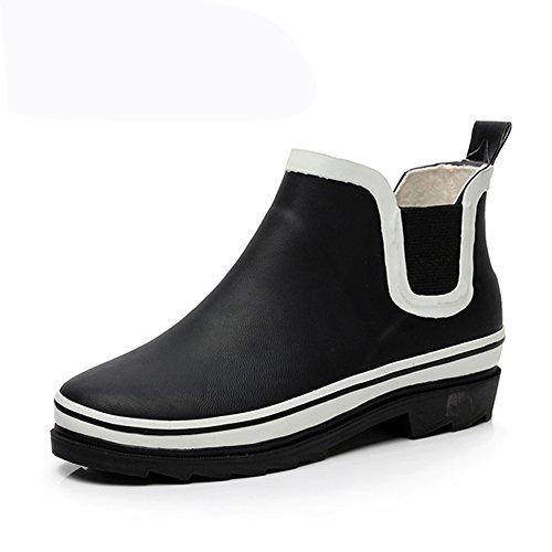 (Wansi) メンズ ショート レイン ブーツ シューズ レインブーツ 雨靴 長靴 長ぐつ 梅雨対策 滑り止め レインシューズ レイングッズ ビジネス アウトドア おしゃれ 雨靴 ブラック 26.5cm