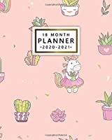 18 Month Planner 2020-2021: Weekly & Daily Planner with Inspirational Quotes - Monthly Spread View Organizer & Agenda with To-Do's, Notes & Vision Boards - Cute Girly Unicorn & Potted Cactus