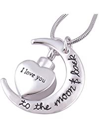 I Love You To The Moon And Back Urnネックレスfor灰Memorial記念品鋼火葬ペンダントジュエリー