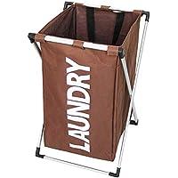 IPOTCH シンプル 家庭用 洗濯 バスケット 取り外し可能 全4色  - 褐色