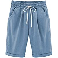 Vcansion Casual Drawstring Elastic Waist Knee-Length Cotton Knit Shorts for Women