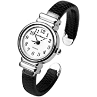 Top Plaza Kids Girls Casual Chic Simple Arabic Numeral Bangle Cuff Watches Anaglog Quartz Bracelet Wrist Watch for Small Wrist