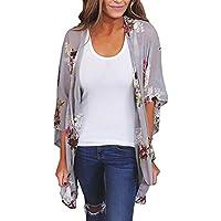 RJDJ Long Sleeve, Women Chiffon Loose Shawl Print Kimono Cardigan Top Cover up Blouse Beachwear