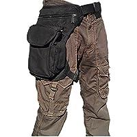 腿にベストフィット! ウェストポーチ 腿用 バッグ 多機能 タクティカル マガジン クリアな袋がセットで包装 ROZZERMANブランド 黒