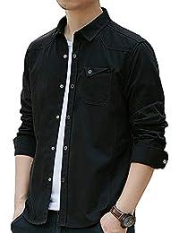 シャツ メンズ オシャレ 長袖 無地 春 夏 秋 細身 シャツ メンズ オックスフォードシャツ 綿 スナップ (#3—ブラック, 2XL)