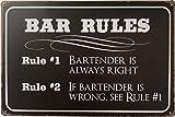 +Urbano BAR Rules ビンテージ レトロ ブリキ看板 ホーム パブ バー デコ 壁飾り ポスター サイズ 8インチ x 12インチ