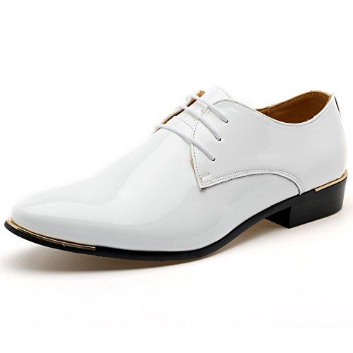 (ゼットージョイ) Z-joyee ビジネスシューズ メンズ 紳士靴 エナメル フォーマル ドレスシューズ レースアップ尖頭靴、ホワイト、26.5cm