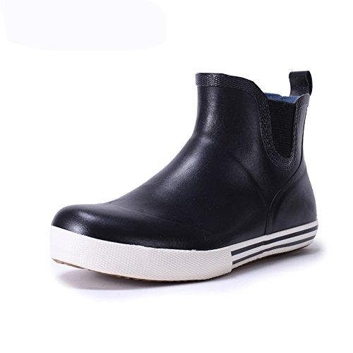 (Wansi) レディース メンズ ショート レイン ブーツ ペアルック シューズ レインブーツ 雨靴 長靴 長ぐつ 梅雨対策 滑り止め レインシューズ レイングッズ ビジネス アウトドア おしゃれ 雨靴 ブラック 25cm