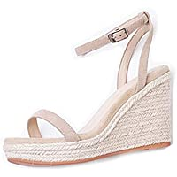 Wedge Sandals Straw Sandals Fairy Wind Word Belt Female High Heel Summer New Thick Platform Waterproof Platform Wedding Ball Leather Sandals (Color : White Heel 9.5cm, Size : 38/US7.5)