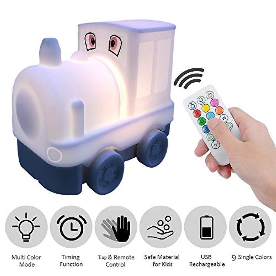 擬人反対する法王Tianhaixingベッドサイドランプ、マルチカラー変換ソフトシリコーンLED夜光、リモコンとUSB充電テーブルランプの呼吸ライト (White, Train)