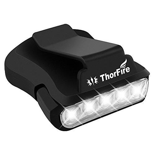 ThorFire LEDキャップライト ヘッドライト ON/OFFのみ コイン電池式 クリップ式 角度調整可能 24時間連続点灯 32g軽量 アウトドア用品 夜釣り