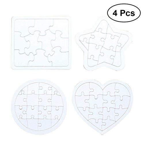 4本の白紙のジグソーパズルDIYの紙のパズルの描画落書きボード(白)