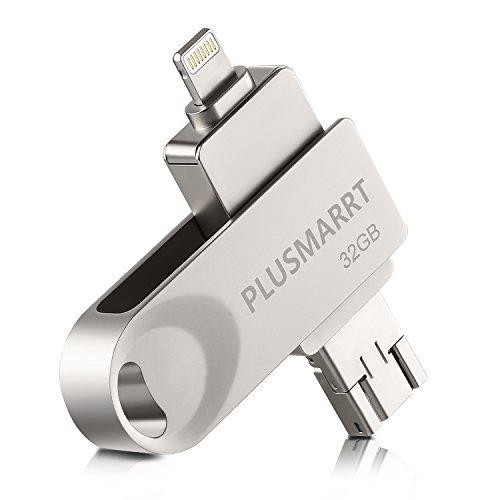 PLUSMARRT USBメモリ 32gb iPhone/Android/PC対応 フラッシュドライブ シルバー