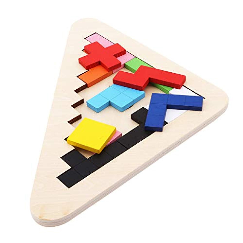 LALANG 木製タングラム ジグソービルディングブロック ゲーム テトリスパズル 分類できるカラフルなボードトイ