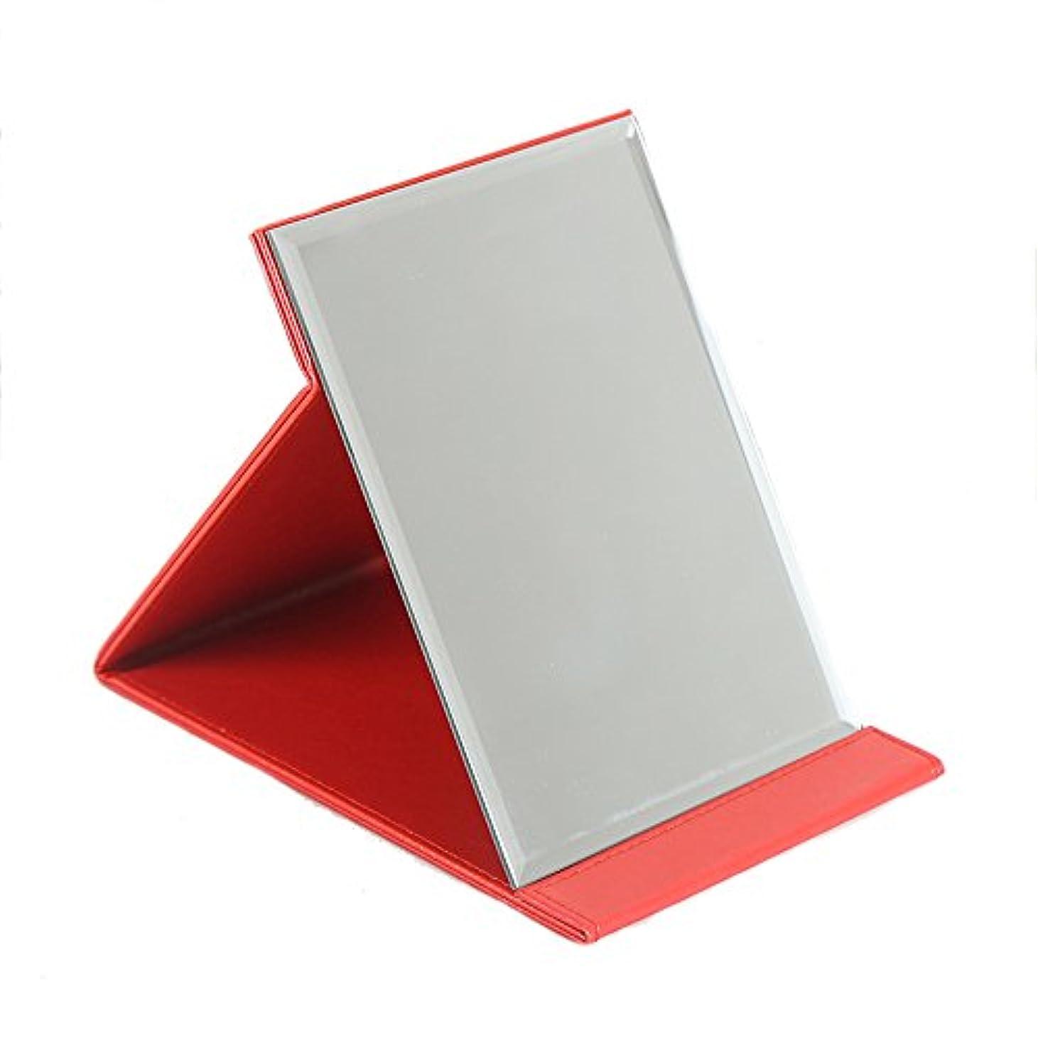 冷笑する連結する疎外する化粧鏡 スタンドミラー 折りたたみ式 角度調整自由自在 角型コンパクトミラー 上質PUレザー使用 (レッド, M:20.5x15cm)